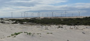 windmills in an arid landscape