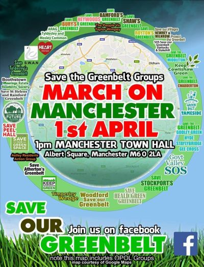 Demonstration for Green Belt, 1 April, Manchester town hall.