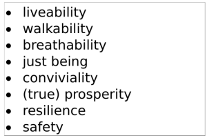 liveability walkability breathability just being conviviality (true) prosperity resilience safety