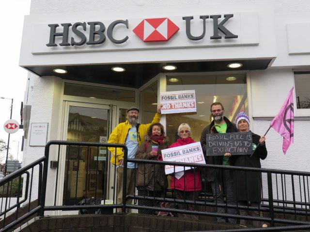 SSM campaigners and friends outside HSBC Bank, Chorlton