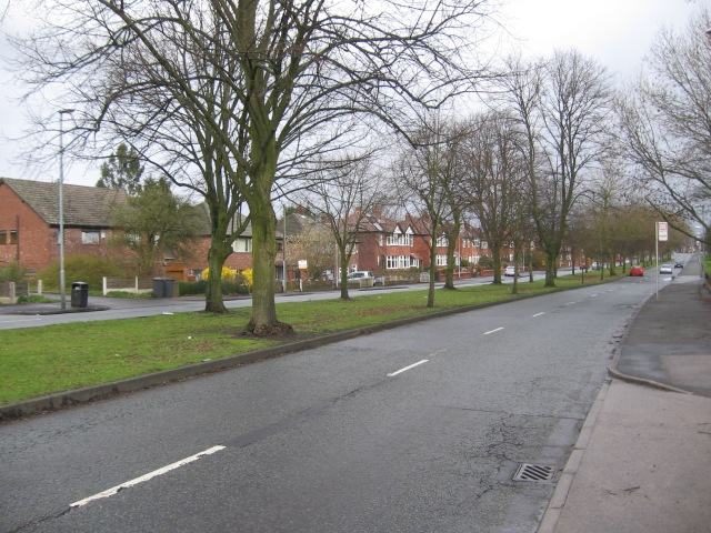 Suburban dual carriageway with green area and houses