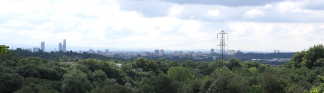 Manchester from a green setting in the north