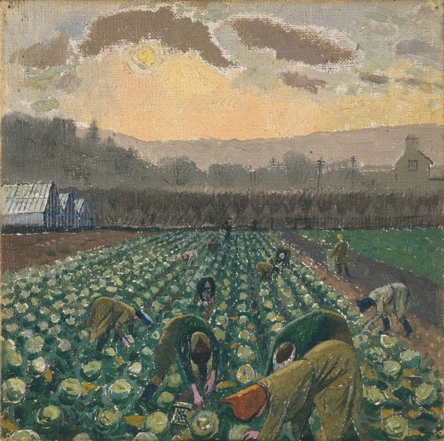 Sprout Picking, Monmouthshire, Evelyn Mary Dunbar, 1941-44